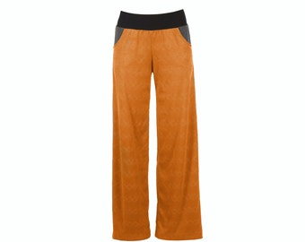 Vegan suede culottes, stretch wide leg pants with pockets, orange pants S-XXL, plus size pants