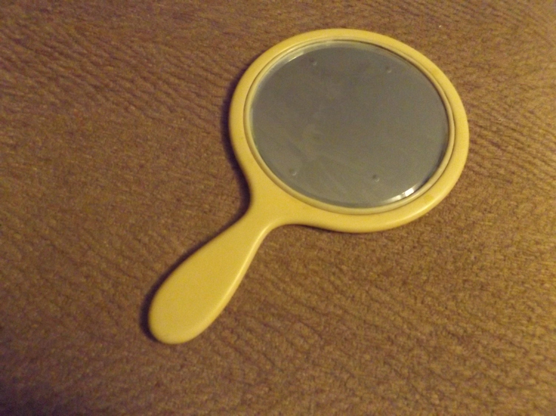 Vintage Bakelite Vanity Mirror Beveled Hand Mirror