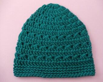 Teal Blue Crochet Beanie Medium Weight Beanie Blue Green Crocheted Hat Womens Beanie Teen Girls Beanie Hat Womens Hat (HAT103Pagoda)