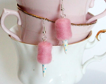 Cotton Candy Earrings - Candy Floss Earrings - Carnival Food Earrings - Kawaii Pink Earrings - Candy earrings - Dollhouse Carnival Food -