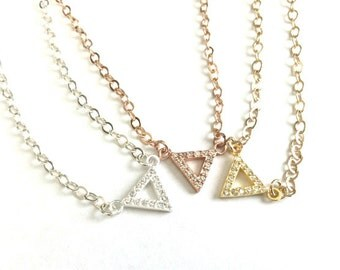 Tiny Pave Cubic Zirconia Triangle Necklace - Tiny Triangles