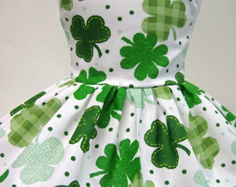 Clovers All Over, St. Patrick's Day Sleeveless Dress for Your American Girl Doll