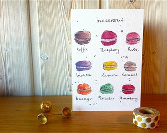 Card - French Macaroons - Food Art -  from Original Illustration