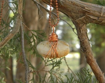 Stone...  pendant necklace natural river rock stone mother earth solder simple rustic primitive magical grounding