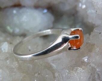 Carnelian Ring, Orange Ring, Carnelian Jewelry, Carnelian, Sterling Silver Carnelian Ring, Size 6 3/4 Ring