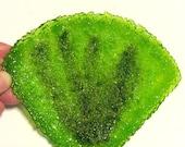 SEASHELL SOAP DISH Dinosaur Footprint Green Fused Glass She'll Dish