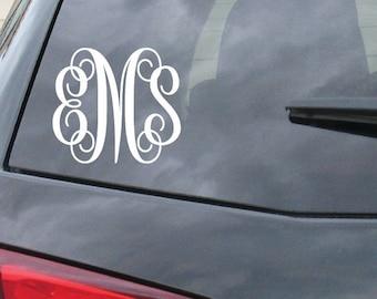 Monogram Car Decal Etsy - Monogram car decal
