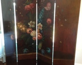Large Vintage Hand Painted Floral Screen