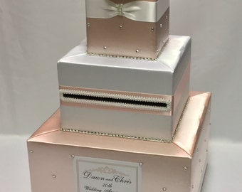 Peach and White Romantic Wedding Card Box Design-any colors