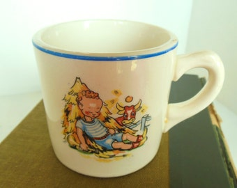 Vintage Child's China Cup Mug Little Boy Blue Horn Cow 40's - 50's (item 11)
