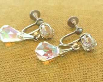 Vintage Aurora Borealis Glass Clip Earrings Silver Dangle 60's (item 171)