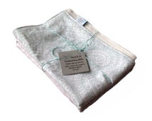 Set of 2 Extra Large Handmade Burp Cloths  Made with premium cotton and organic bamboo fleece -- Perfect Neutral Paisley