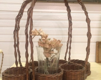 Vintage Wicker and Wood Drink Carrier Cottage Porch