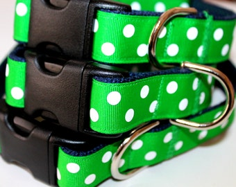 "Green Dog Collar and Leash Set 1"" wide Green Dog Collar Set Leash Large Dog Collar Leash and Collar Set Small Dog Collar Green and Navy Pets"