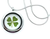 Real Four Leaf Clover Pendant Necklace - 4 leaf clover, lucky clover, shamrock necklace