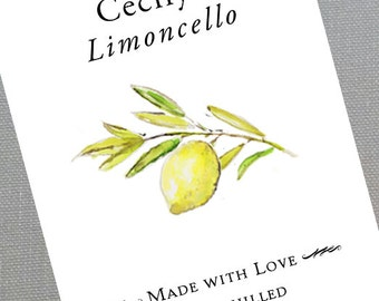 Lemon,Limoncello,Personalized Stickers or Tags, set of 18