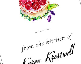 Tart,Pastry,Bakers Label, From the Kitchen of,Personalized