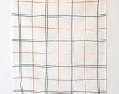 Linen Tea Towel - Tattersall in Copper + Slate
