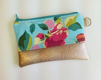 Floral Coin purse with faux leather