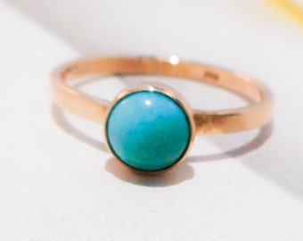 14K Solid Solid Gold & Turquoise Ring