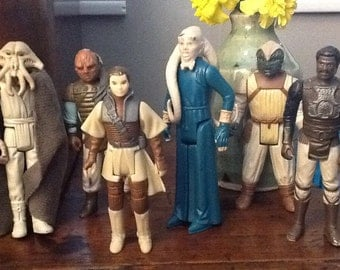 Set of Six Original Star Wars Return of Jedi Etc. Action Figures 1980s Leia Bib Fortuna Lando Etc.