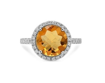 Diamond Citrine Ring in 14k White Gold 0.4 ct tw | ready to ship!