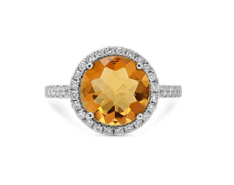 Diamond Citrine Ring in 14k White Gold | ready to ship!