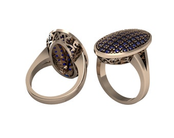 Sapphire Emerald Ruby Oval Ring in 14k Yellow Gold | made to order for you within 5-7 business days