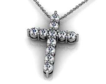 Diamond 14k Gold Cross Pendant Necklace accented by 11 small round diamonds 0.11ct | made to order for you within 5-7 business days