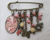 Kilt pin brooch - birds family nest, hearts, flowers, butterfly ladybird, retro bronze peach cream