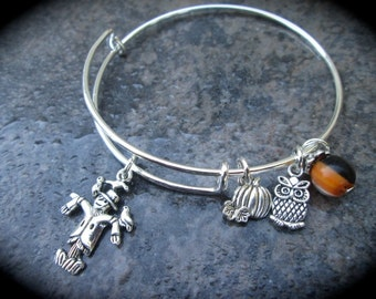 """Halloween Fall Theme Adjustable Bangle Bracelet with Scarecrow Pumpkin and Owl charms and """"Candy Corn"""" Dangle Charm Fall Jewelry"""
