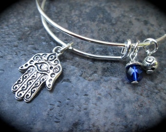 Hamsa Adjustable bangle Bracelet Hand of Lourdes Hand of Hamsa with Evil Eye Charm Protection bracelet adjustable bangle