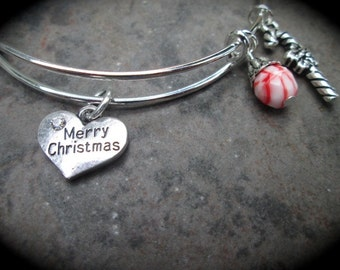 Merry Christmas Bangle Bracelet with Candy Cane and red and white Czech glass dangle  Adjustable Bangle Bracelet Christmas Charm Bracelet