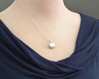 Locket Necklace in Sterling Silver -Silver Locket Necklace -Plain Round Sterling Locket Necklace