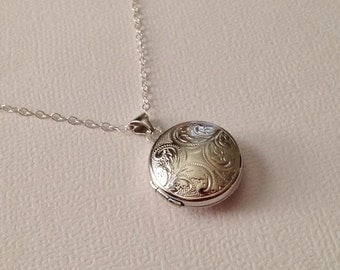 Locket Necklace in Sterling Silver -Silver Round Victorian Locket - A Beautiful Keepsake Gift