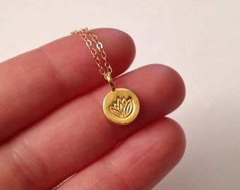 Lotus Necklace in Gold - Gold Lotus Necklace -Gold Yoga Necklace
