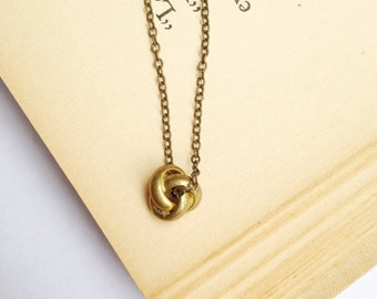 The Amy Necklace.  Simple Knot Necklace.  Brass Love Knot.