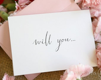 Cute Will You Be My Bridesmaid Cards - Will You Be My Matron of Honor, Maid of Honor, Flower Girl, Bridesmaid, Bridesman Proposal Card (6ct)