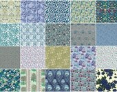 """The deep blue green, Liberty print charm pack, 5"""" patchwork squares, 36 blue and green charm squares"""