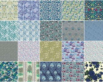 "The deep blue green, Liberty print charm pack, 5"" patchwork squares, 36 blue and green charm squares"