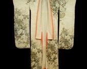 Japanese Silk Rinzu Kimono, Vintage, Wedding Dress, Kakeshita, Furisode, Flower Baskets Pattern, Gold Embroidery