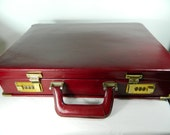 Vintage Leather Briefcase Oxblood Locking Attache Briefcase Laptop Holder Retro Briefcase