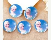 ON SALE 50% Off SALE 2.75 Regular Price 5.50 12 Frozen Princess Elsa Shrinky Dinks 30Mm Resin Printed Flat back Button For Hair Bow Center #