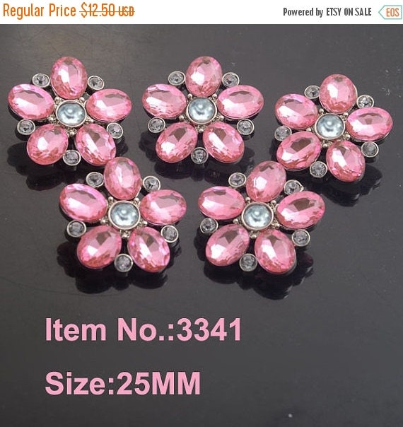 ON SALE 10 Pink Rhinestone Buttons Pink Flower-Star Burst Rhinestone Plastic Acrylic Buttons 25mm-3341-26R.