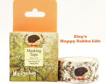 Hedgehog and Pine Cone - Japanese Washi Masking Tape - 20mm Wide - 11 yards