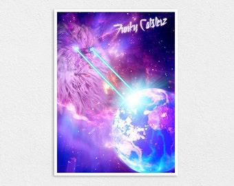 "Armageddon - 8"" x 10"" Space Cat Print - Laser Cats Kawaii Cosmos Kitten Kitty"