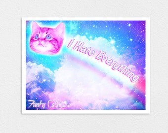 "I Hate Everything 8"" x 10"" Nyan Cat Print"