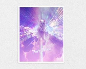 God of the Internet - Kawaii Space Cat Print 8x10