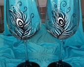 Black and white Peacock feather hand painted wine glasses