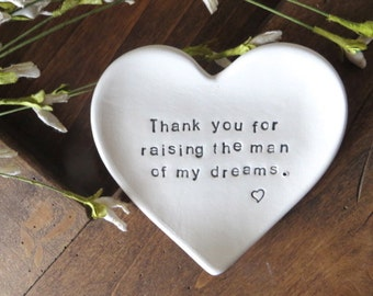 Ring dish, Mother of Groom Gift, Thank You for Raising the Man of my Dreams, Parent Wedding Gift, Mother in law Gift, Handmade Pottery